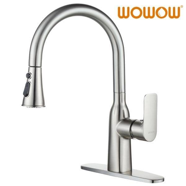 WOWOW Pull Down Kitchen Tap Brushed Nickel
