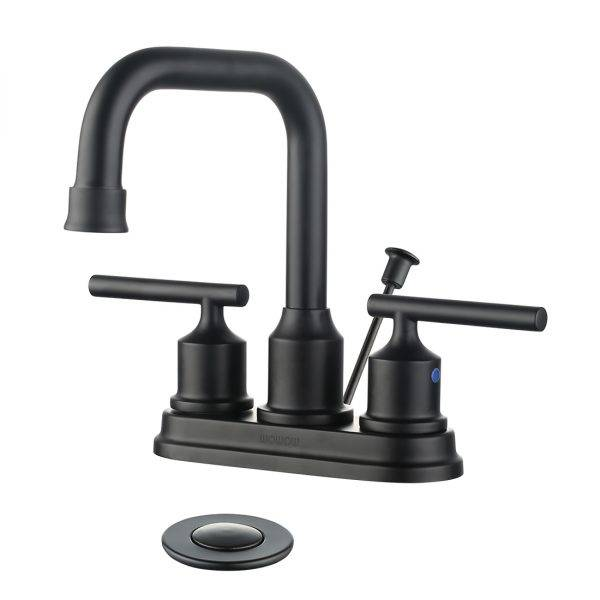 Wowow Centerset Bathroom faucet nge-Drain Assembly Matte Black