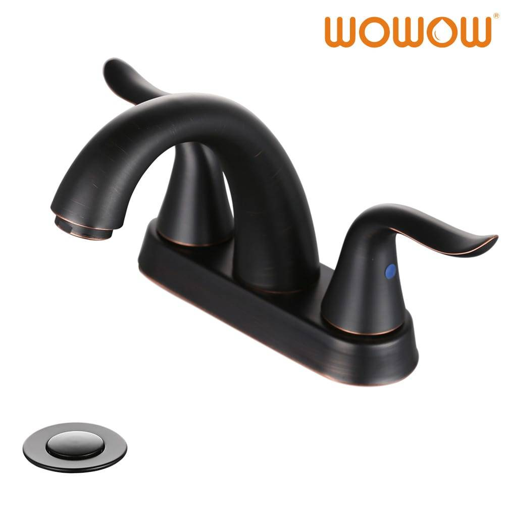 Wowow Oil Rubbed Bronze Bathroom Sink Faucet 2 Handle 4 Inch Center