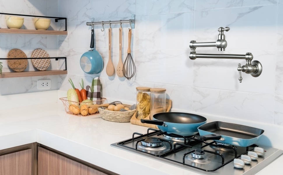 WOWOW Pot filler Faucet Over Stove In Nickel Brished