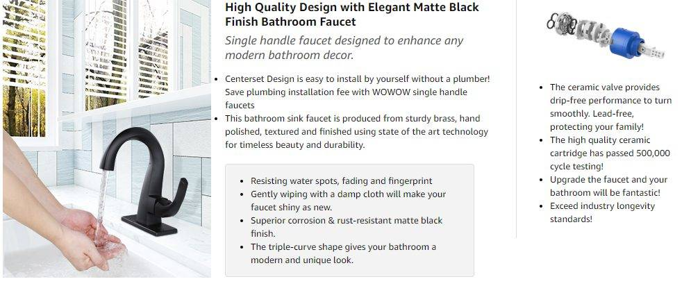 WOWOW Vink Sink Faucets Matte Black