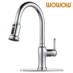 WOWOW Chrome Kitchen Sink Faucet with Pull-Out Sprayer