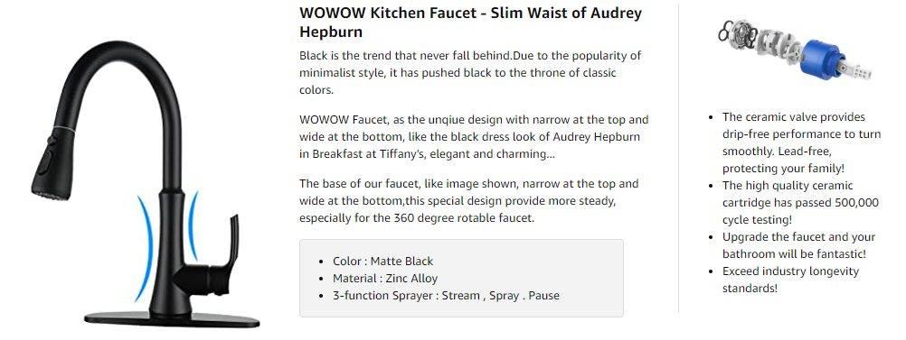 WOWOW Матовый черный кухонный смеситель спрей
