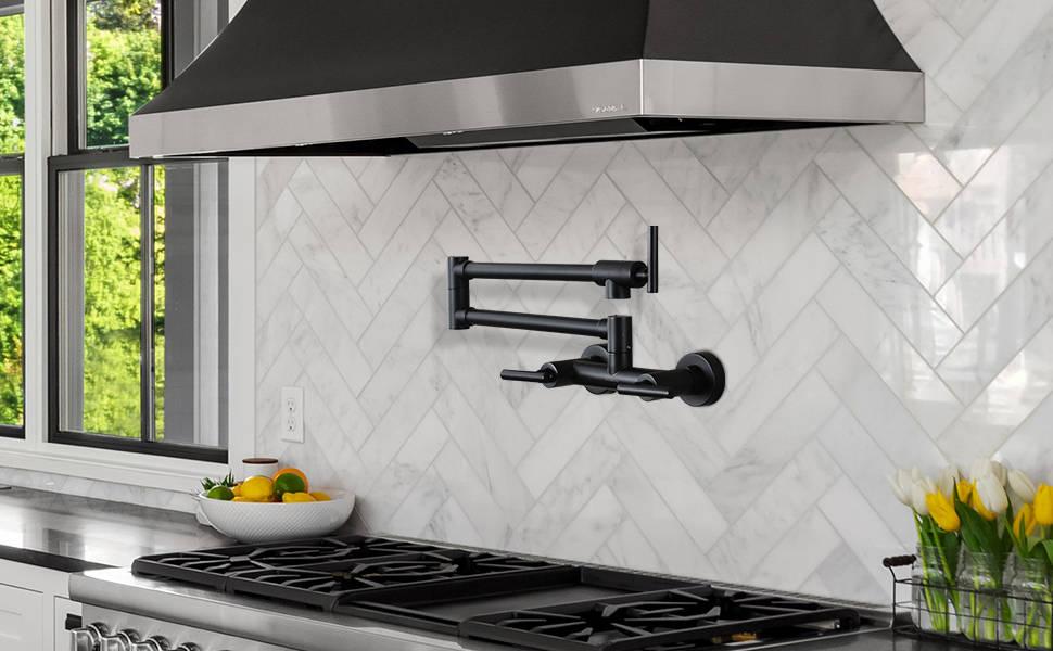 तातो र चिसो पानी फोल्डि Kitchen किचन नलको लागि W वटा ब्ल्याक पट फिलर नल