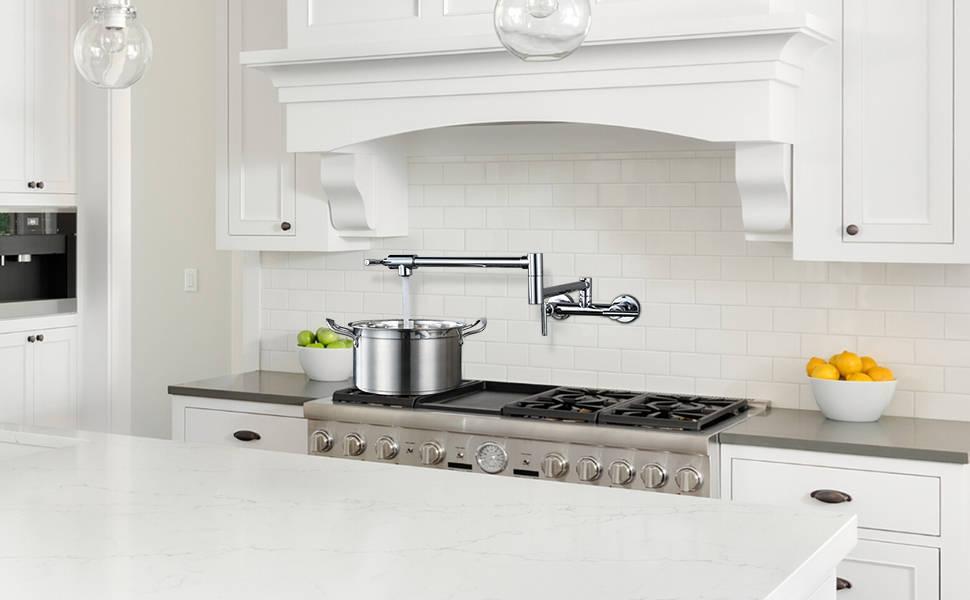 WOWOW Commercial Pot Filler Kettle Faucet Chorme