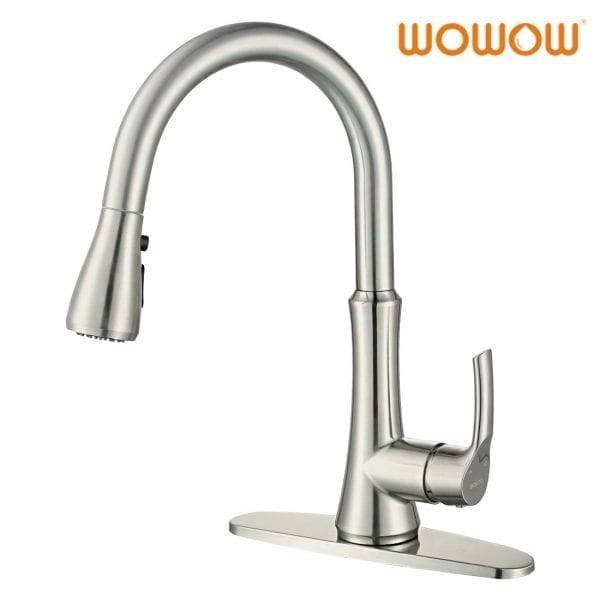 WOWOW Kitchen Sink Faucet Pull Down Brushed Nikel
