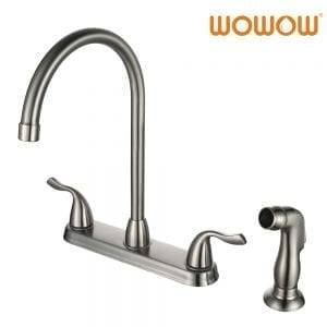 WOWOW habeli Handle Kitchen faucet e nang le Side Sprayer tšepe