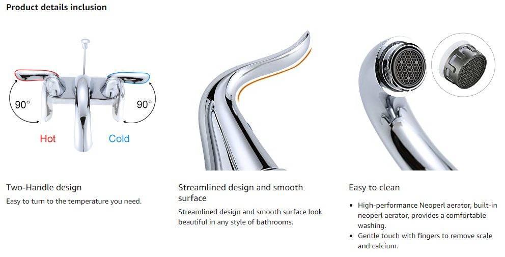 WOWOW Змішувач для ванної центральний кран Chrome