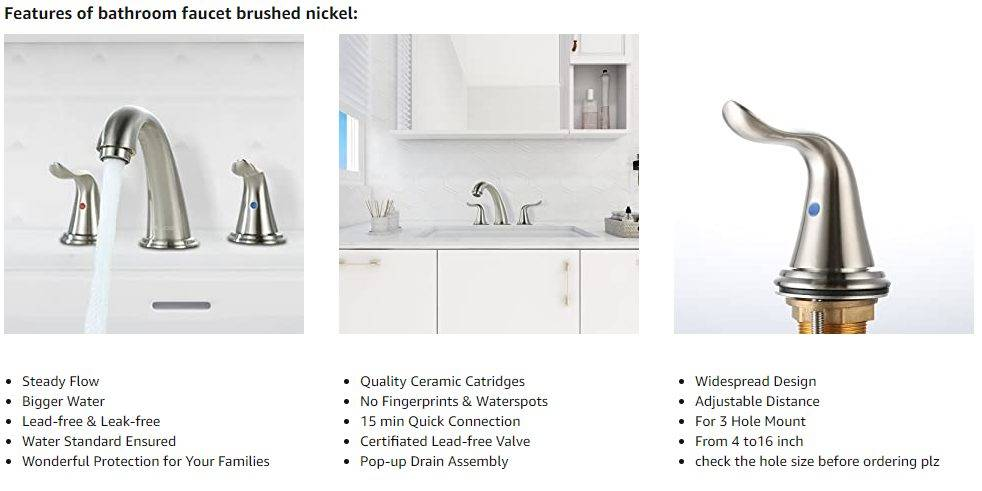 Mohope oa Bathroom Sink faele e broker Nickel E Tletse