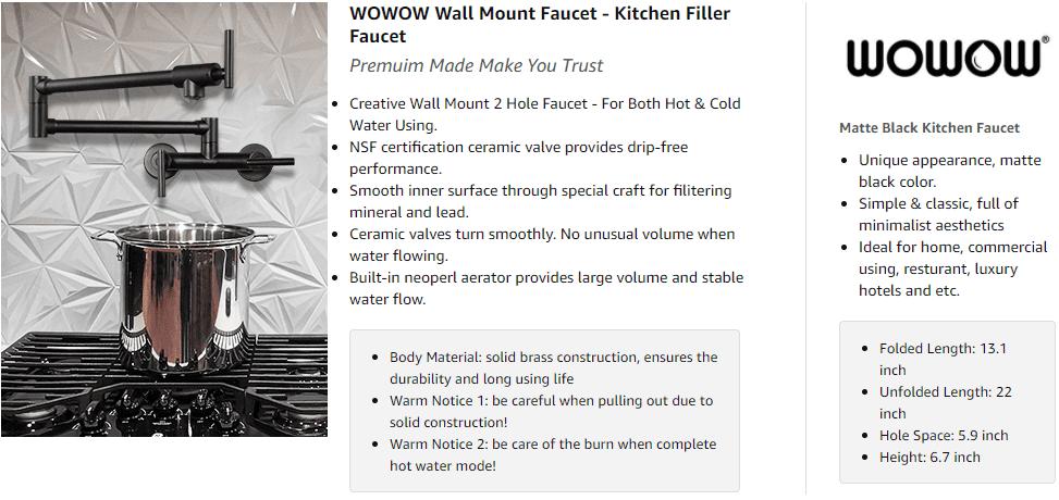 तातो र चिसो पानी फोल्डि Kitchen किचन नलको लागि WOWOW कालो पटा फिलर नल