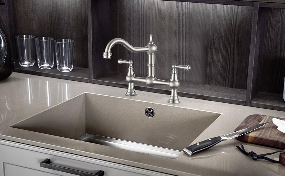 WOWOW Bridge Kitchen Sink Mixer Tap - Brushed Nickel