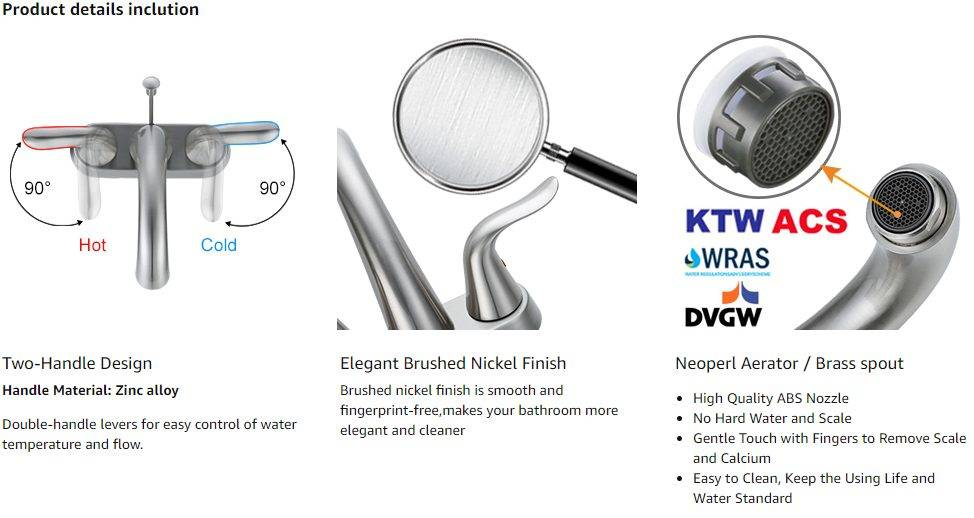 FOWOW Centreet Faucet Bathroom Nickel Brushed