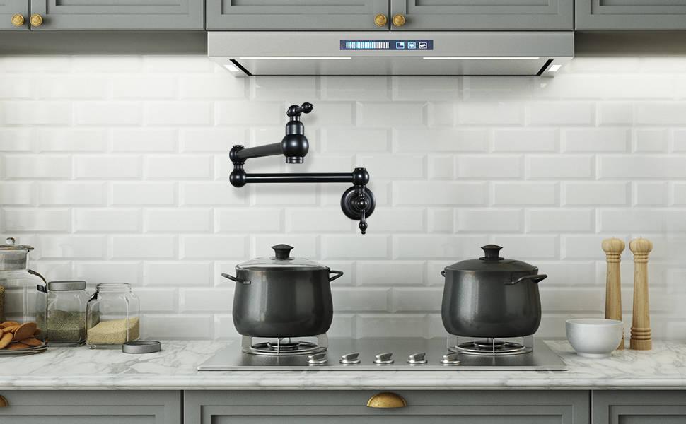 WOWOW Pot Filler Faucet Matte Black