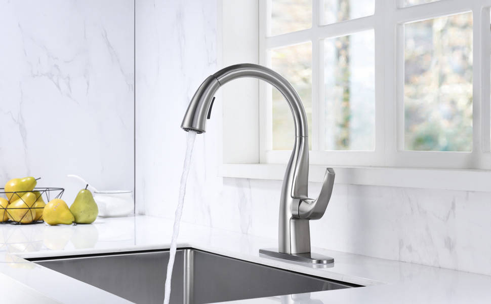 WOWOW Gooseneck Kitchen Faucet With Pull Out Sprayer