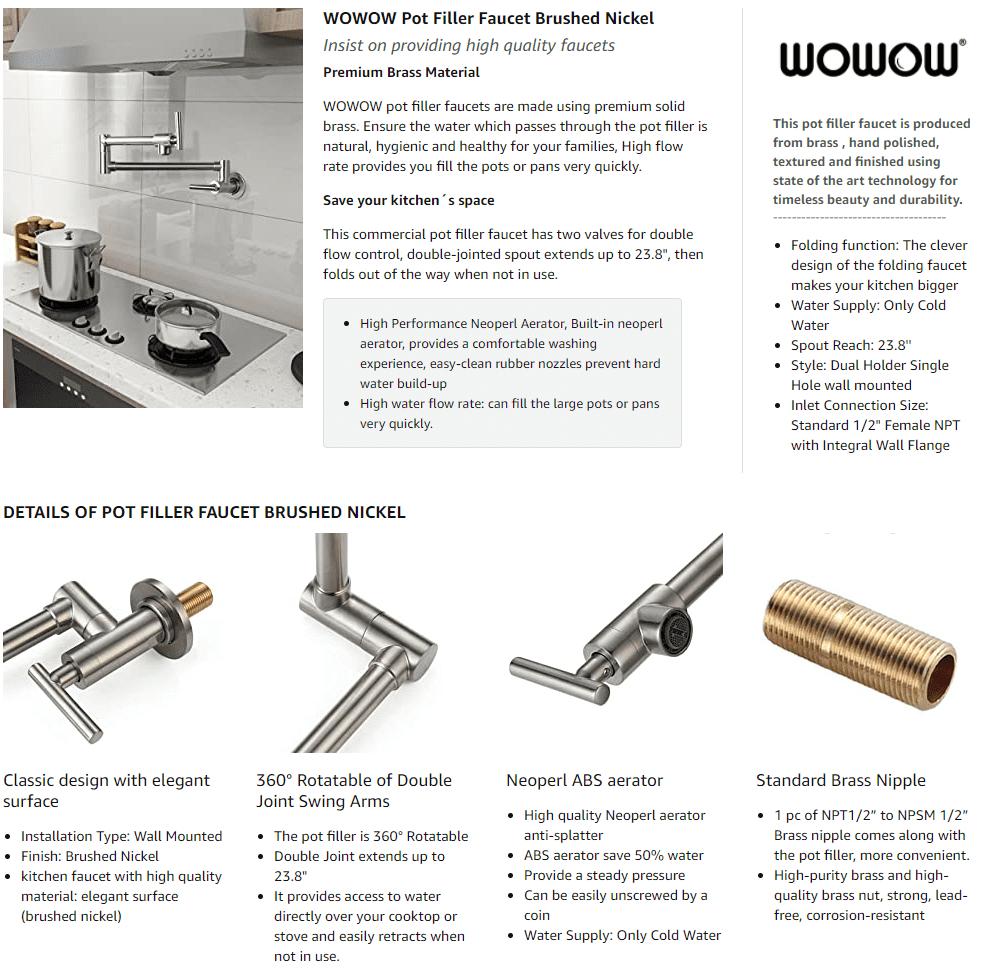 WOWOW Rechete de níquel cepillado