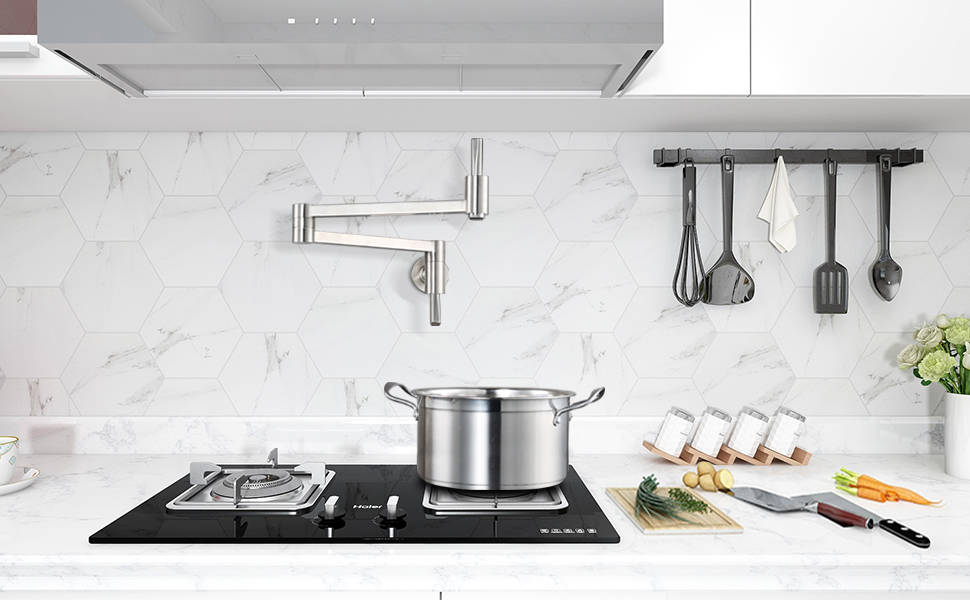 WOWOW Wall Mounted Pot Filler In Brushed Nickel