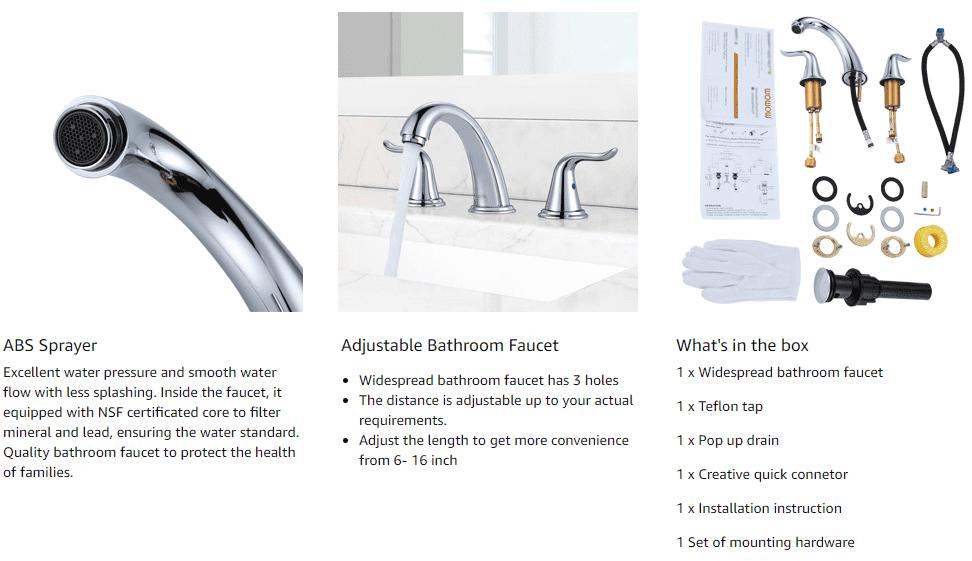 Wydverspreide Chrome-kraan met 'n twee-handvatsel-badkamer