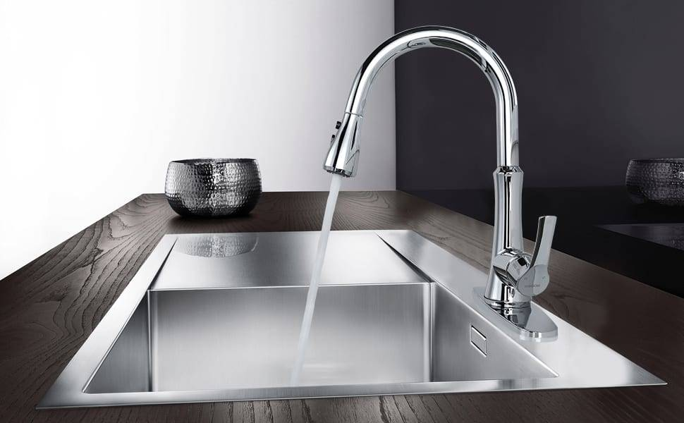 WOWOW Single Handle Kitchen Faucet with Pull Down Spray Brushed nickel