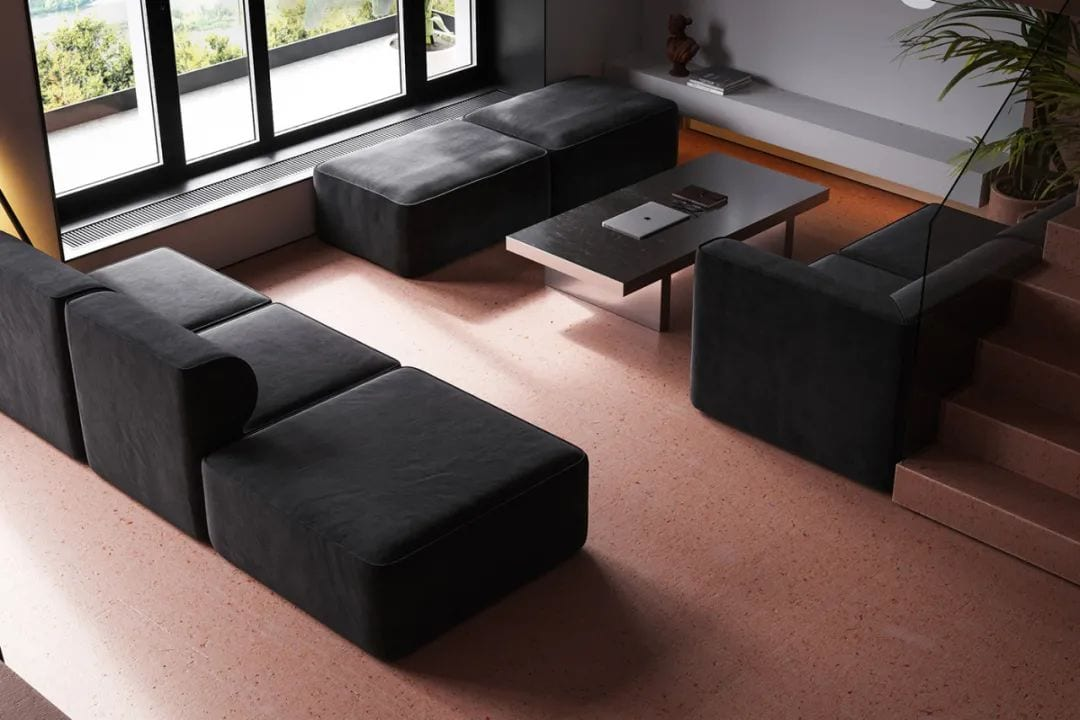 minimalist red pigment cement apartment padstyle