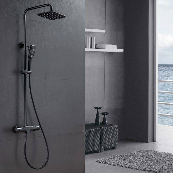Termostatik Duş Armatürü Duvara Montaj Mat Siyah Paslanmaz Çelik 3 Fonksiyonlu El Püskürtücülü
