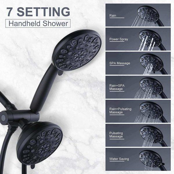 wowow 48 işlevli siyah el tipi çift yağmur duş başlığı sistemi
