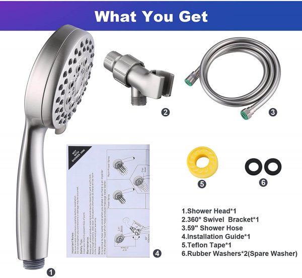wowow högt tryck handhållet duschhuvud borstad nickel duschhuvud med slang