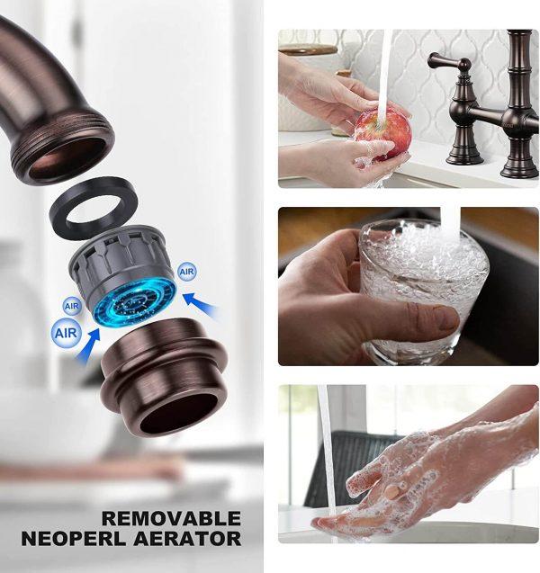 wowow bronze centerset bridge kitchen faucet 4 hole with side sprayer